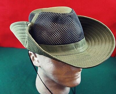 Hat Bucket Safari Outback Aussie Big Snap Up Brim Vented Mesh Sides -