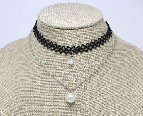 New Wholesale Dozen Silver Black Pearl Choker Necklace & Earring Sets #N1057-12