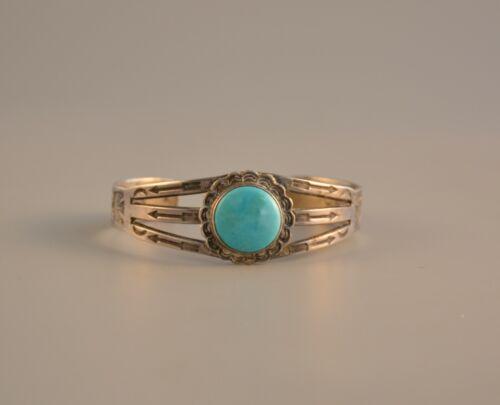 Old Pawn Navajo  Handstamped Silver Turquoise Bracelet - Fred Harvey - 6.25