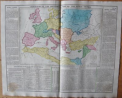 1829 ANTIQUE MAP- LAVOISNE- GEOGRAPHICAL AND HISTORICAL MAP OF THE ROMAN EMPIRE