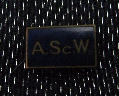 Wonderful badge in navy blue enamel A.SC.W -