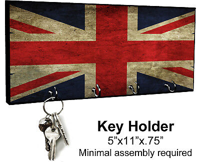 KEY HANGER HOLDER RACK ENGLISH #S1 Union Jack British Brittian United Kingdom UK for sale  Stow