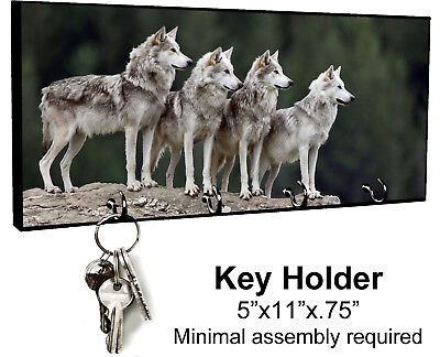 KEY HANGER HOLDER RACK - WOLF #SN1 Wolves Dog Wild Spiritual Tribal Native Woods