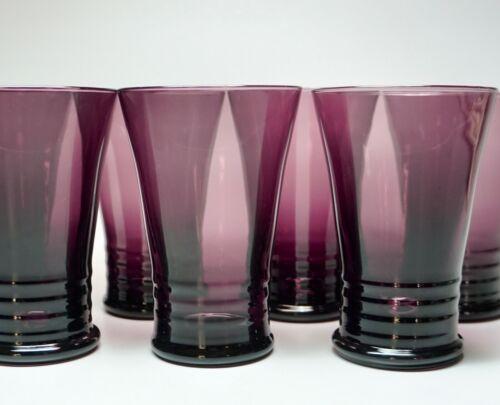 """7 Vintage Purple Glasses Glassware 5"""" High 8 Fluid Ounces"""