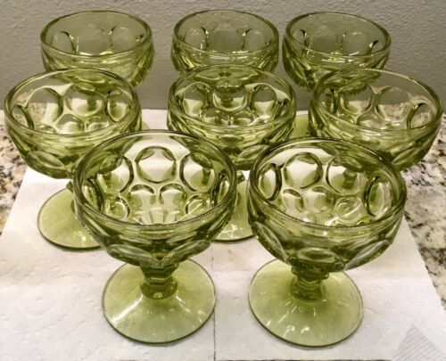 Set of Seven Imperial Glass Provincial Green Verde Champagne/Sherbets