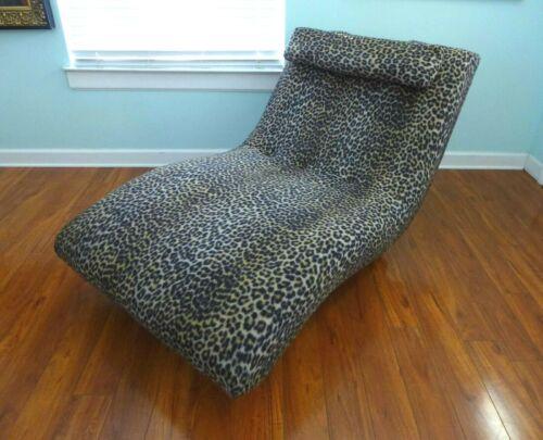 XL Leopard Chaise Wave Lounge Vintage Mid Century Modern Wavy Chair Plush Plinth