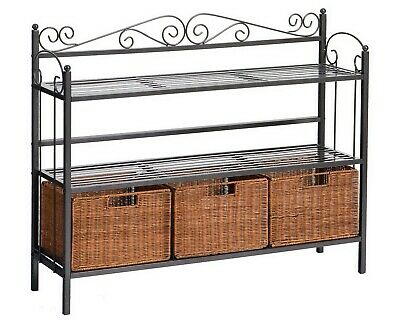 Two Shelf Storage Bakers Rack with 3 Rattan Basket Drawers Entryway Organizer