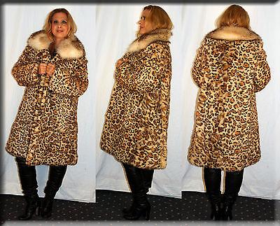 New Leopard Print Rabbit Fur Coat Fox Collar Size Extra Large 14 16 XL