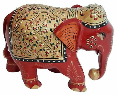 12 inches Tall 1800/'s Vintage Wooden Elephant Statue Handcrafted and Handpainted with Distress Rustic Finish for Home D\u00e9cor