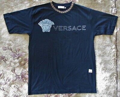 vintage VERSACE Black JEANS COUTURE Cotton T-Shirt LARGE Never Worn