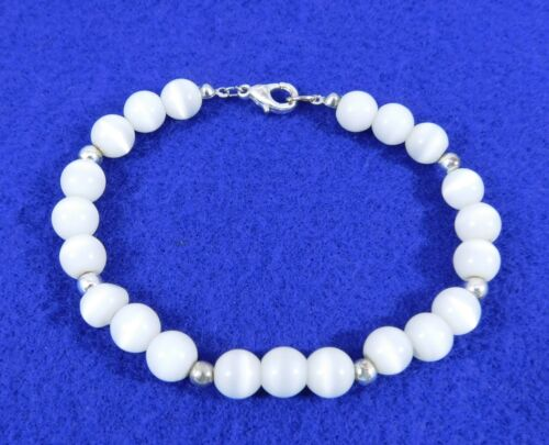 Bracelet White Glass Moonglow Beads