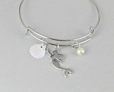 (Mermaid bracelet shell faux pearl bangle expandable thin skinny bangle silver)