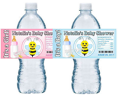 20 BUMBLE BEE BABY SHOWER FAVORS WATER BOTTLE LABELS PARTY FAVORS - glossy