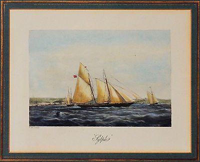Nicholas Matthew Condy Lithographie koloriert signiert Schiff Sylph 42 x 36 cm