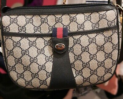 Gucci Vintage Blue Supreme web Gg Monogram Canvas Leather Shoulder Bag