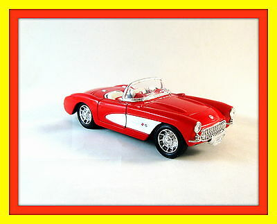 1957 CHEVROLET CORVETTE ,RED WELLY 1/24 DIECAST CAR COLLECTOR'S MODEL , NEW