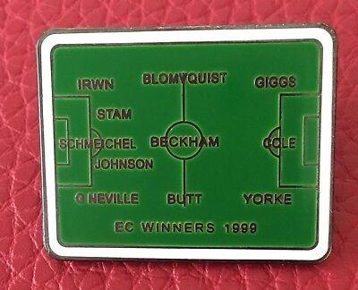 UNITED 1999 EUROPEAN CHAMPIONS LEAGUE WINNING LINE UP ENAMEL PIN BADGE - RARE (Lineup Pins)