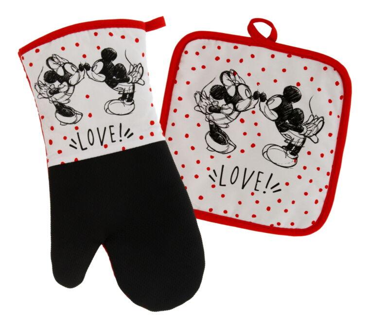 Disney Kitchen Neoprene Oven Mitt/Potholder Set, Mickey and Minnie Kissing