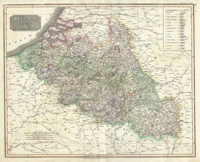 1817 Thomson Map of Belgium and Luxemboug