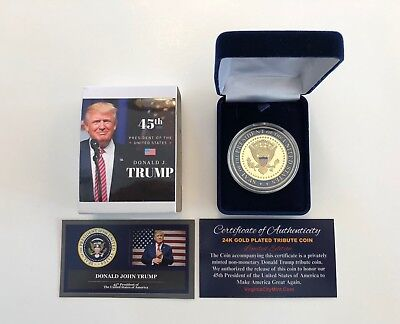 President Donald Trump...  Presidential Seal...  Commemorative Coin.. in a Case for sale  Shipping to South Africa
