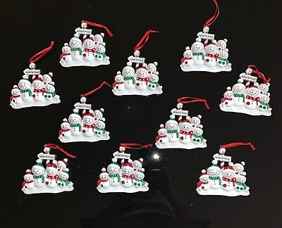 Wholesale Lot of 10 North Pole Snowmen Family of 5 Christmas Tree Ornaments ()