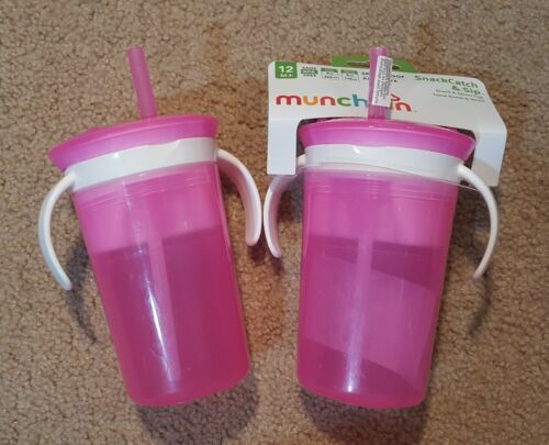 Munchkin Spill Proof Cup & Snack Catcher 2 in 1 2 Pack pink