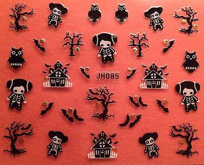 Nail Art 3D Decal Stickers Halloween Haunted House Skeleton Bat Owl JH085 (Bat Halloween Nail Art)