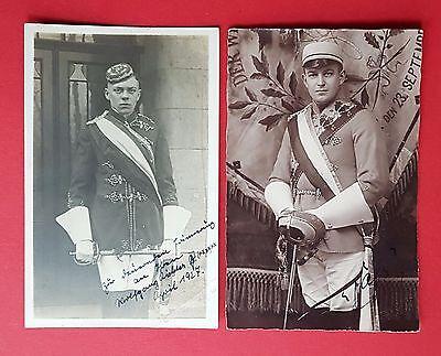 2 x Studentika Foto AK um 1930 Studenten in Uniform mit Degen    ( 18599