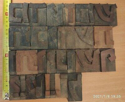 Big Hebrew Print Letterpress Block Wooden Type Letters Symbols - Lot Of 29 Pcs