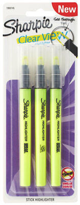 Sharpie Highlighters Clear View See Through Tip Highlighting Stick 3pc Yellow