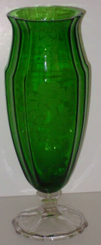 Cambridge Dark Emerald Green Vase Glass Apple Blossom #1297 11 inch