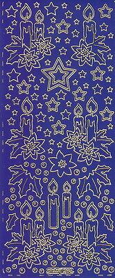 Zier-Sticker-Bogen-Advent-Kerzen-blau-gold-W 0285blg