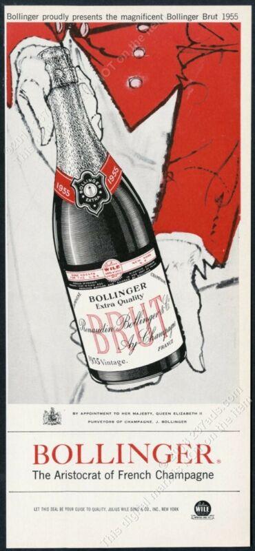 1962 Bolligner Brut Champagne 1955 bottle art vintage print ad