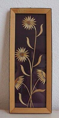 DDR Wandbild Blumenbild Strohblumen Holzrahmen Handarbeit  verglast  60er Jahre