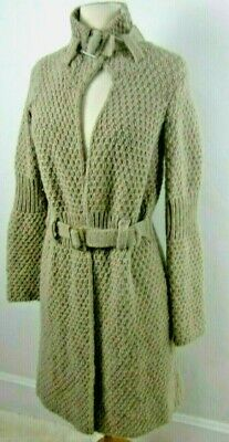 Cocogio Italy Cardigan Midi Sweater Coat Womens Small Taupe Beige Chunky Knit