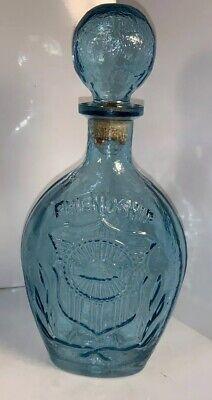 Turquoise Blue Vintage Whiskey Liquor Bottle Friendship Decor Decanter Glass