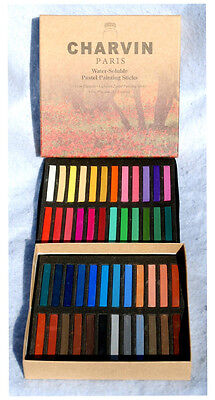 CHARVIN ARTIST WATER-SOLUBLE PASTEL PAINTING STICKS 48 COLORS NEW IN BOX - Pastel Box