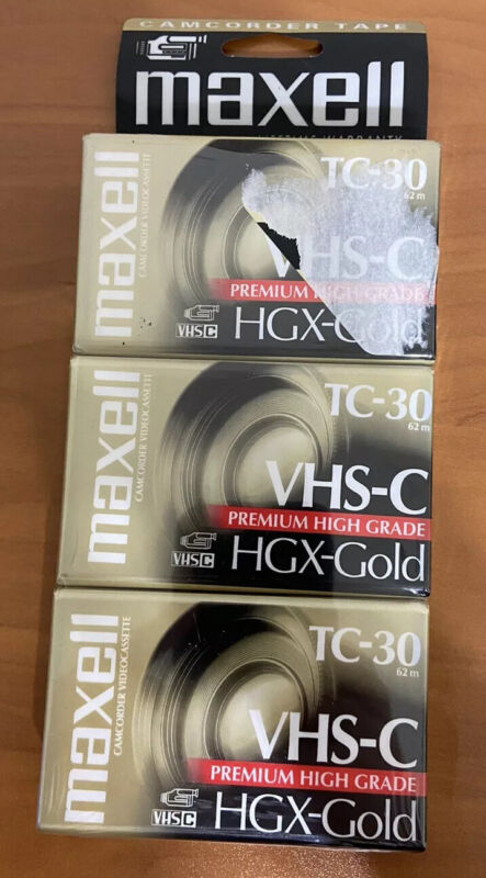 Maxell VHS-C TC-30 HGX-Gold Camcorder Video Tapes 3 Pack New Unopened