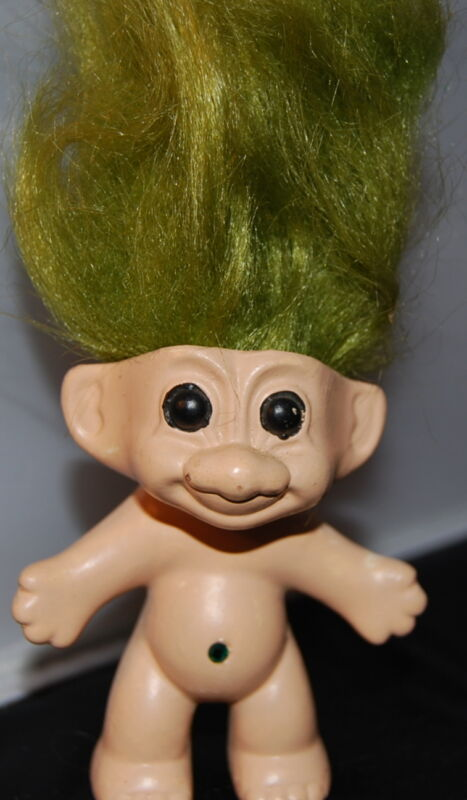 "CERAMIC TROLL-3""-- one of kind  Hand painted and Avocado hair"