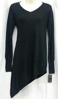 MOSSIMO S Tunic Black Long Sleeve V Neck Asymmetric light weight Sweater