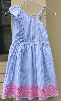 Nautica Girls Sz 7 One Shoulder Dress Blue/White Stripes W Pink Lace NWT $42.50