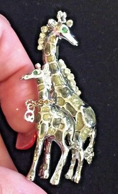 RARE ST JOHN MOM AND BABY GIRAFFE SILVER TONE, ENAMEL & CRYSTAL BROOCH PIN ](Baby And Mom Costumes)