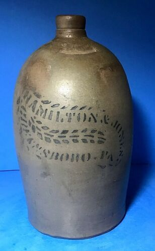 Antique Hamilton & Jones, Greensboro, PA, Gallon Jug; Shield Shaped Stencil