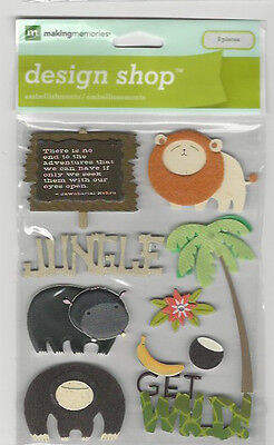 Making Memories Design Shop JUNGLE ANIMALS 3D Stickers covid 19 (Animal Design Shop Stickers coronavirus)