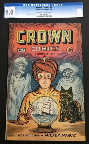 Crown Comics #2 9.0 VF/NM OW/WH Golden Age Early Matt Baker Interior Art Scarce