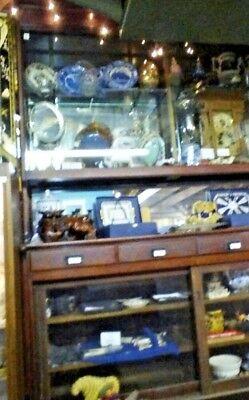 Vintage  Pharmacy Back Bar Display Cabinet  Mahogany Finish