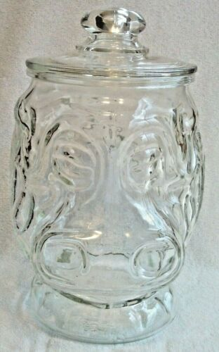 """Vintage Libby """"Rare"""" Clear Glass Hippopotamus Hippo Cookie Jar Canister 12 1/2"""""""