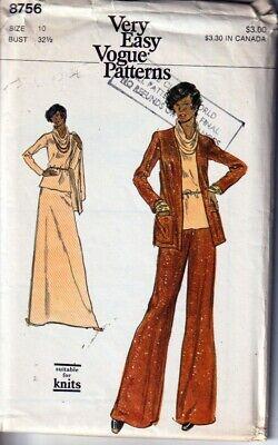 Vintage Vogue Pattern Jacket Knit Top Skirt Pants Misses Size 10 B 32 1/2 8756
