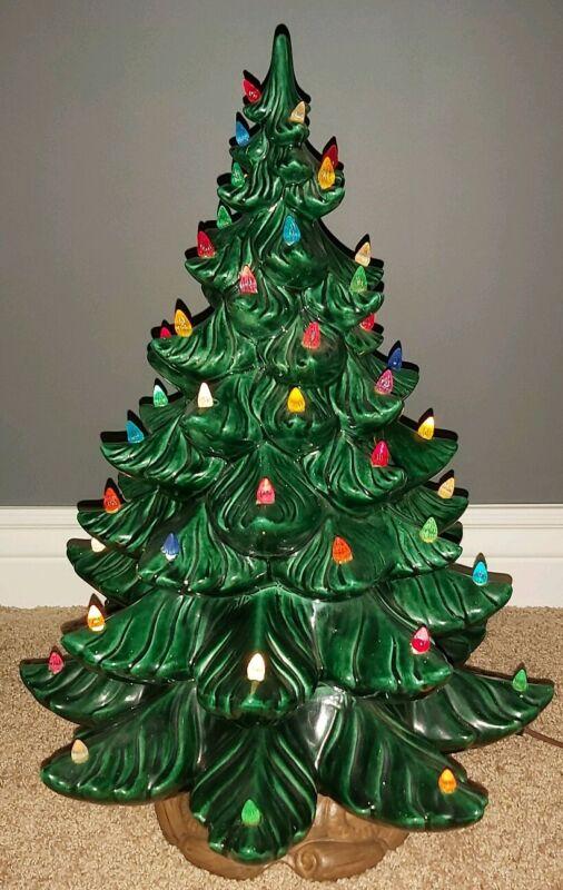 "RARE VINTAGE LARGE 23"" Atlantic Mold Ceramic Christmas Tree Lights Up No Star"