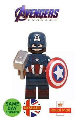 Captain America Lego Avengers End Game Mini Figure Marvel Mjolnir Uk Seller